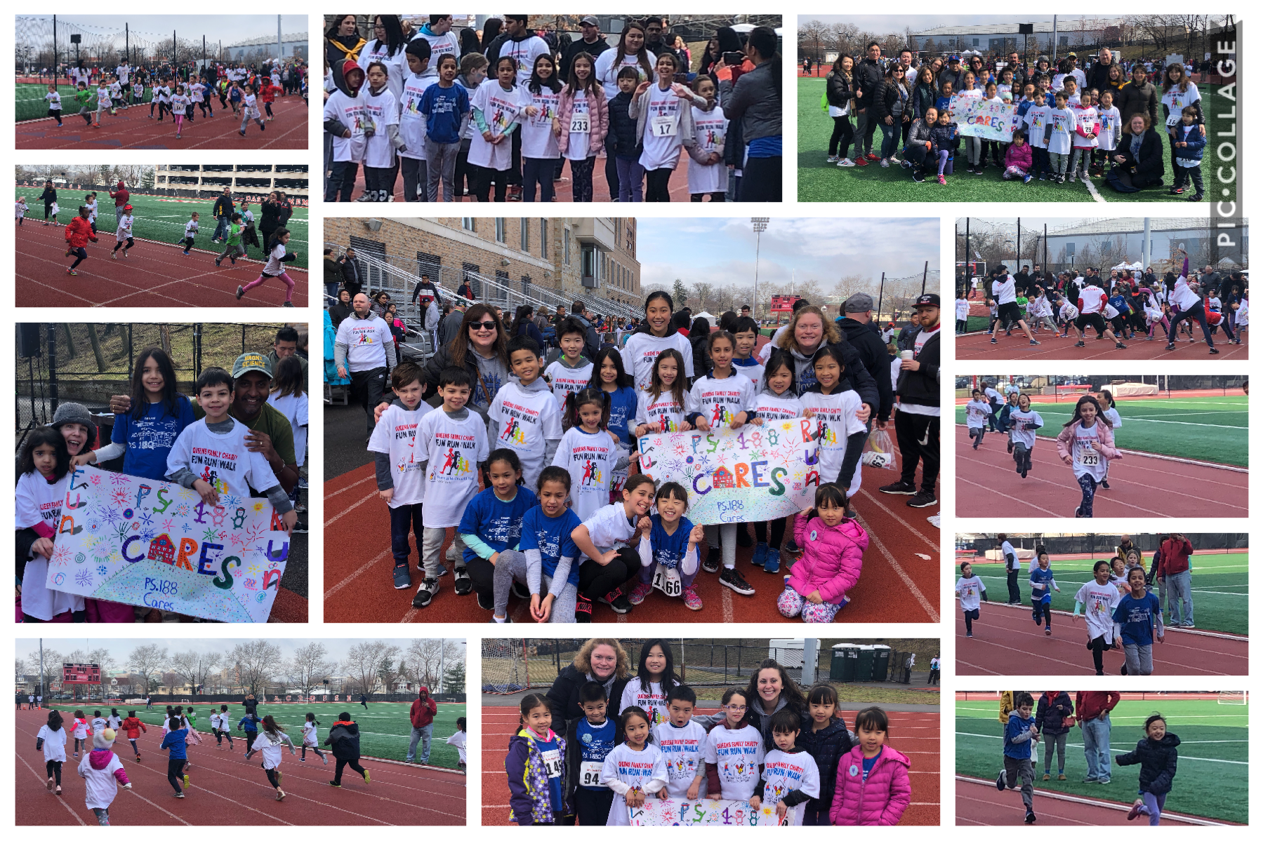 Pictures of the 2020 Queens Fun Run Team, kids and families with Mrs. Gambeski and Mrs. Perez Fung