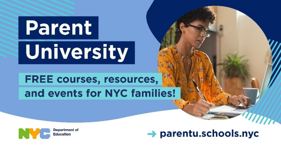 Image of a parent looking at a computer with the caption, Parent University, Free courses, resources, and events for New York City families.